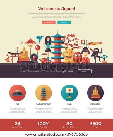 Welcome Japan Travel One Page Website Stock Vector 396756865