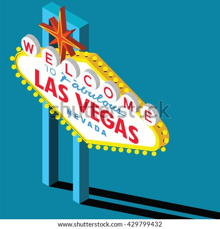 Welcome to Las Vegas Sign Isometric View At 30 Degrees - stock vector