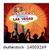 welcome to las vegas sign  - people one unit - stock photo