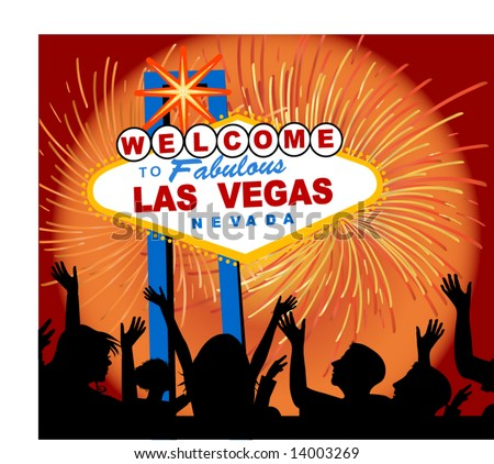 welcome to las vegas sign  - people one unit - stock vector
