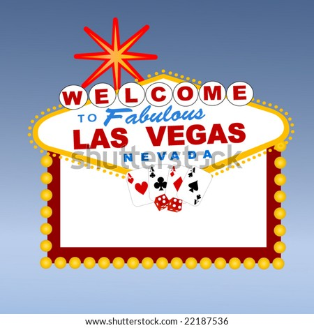 welcome to Las Vegas sign with cards and dice - stock vector