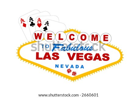 welcome to las vegas sign with cards and dice vector - stock vector