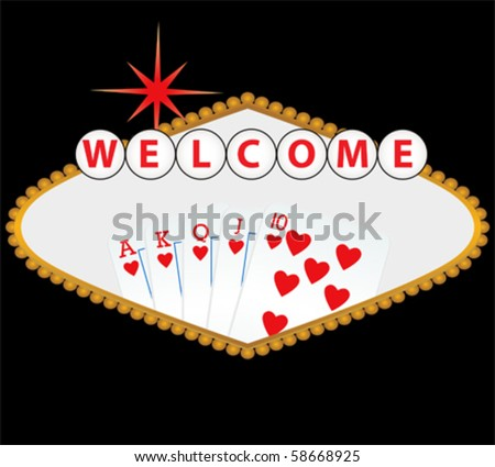 Welcome to Las Vegas sign with royal flush - stock vector