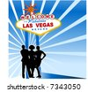 welcome to las vegas sign with three friends in front - stock photo