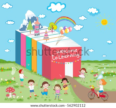welcome learning kids have fun vector のベクター画像素材
