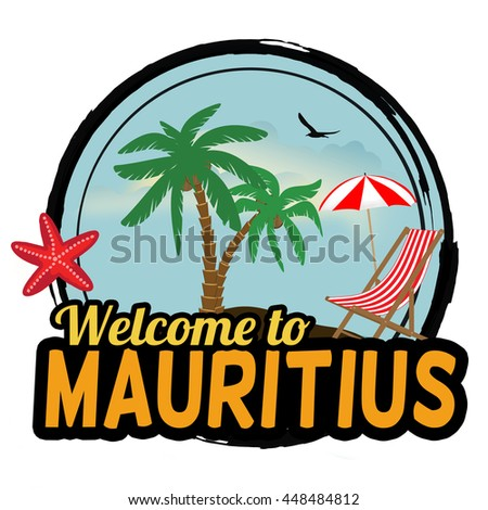 Welcome to Mauritius concept in vintage graphic style for t-shirt and other print production on white background, vector illustration - stock vector