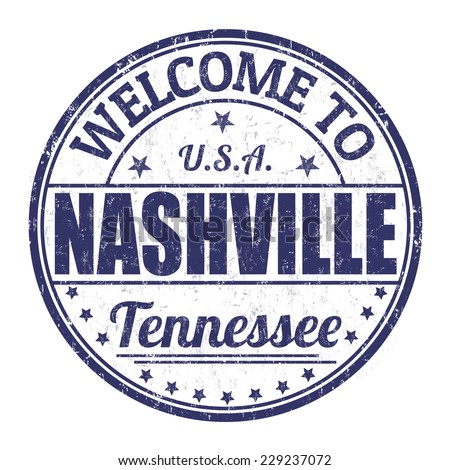 Welcome to Nashville grunge rubber stamp on white background, vector illustration - stock vector