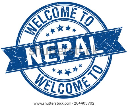welcome to Nepal blue round ribbon stamp