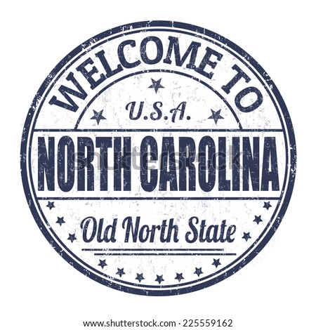 Welcome to North Carolina grunge rubber stamp on white background, vector illustration