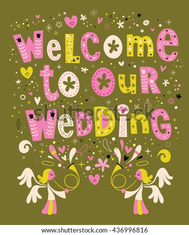 Welcome to our wedding card invitation - stock vector