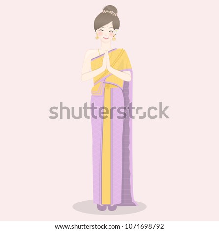 Welcome thailand thai women wearing traditional stock vector welcome to thailand with thai women wearing traditional thai dress and greetings in thai style m4hsunfo