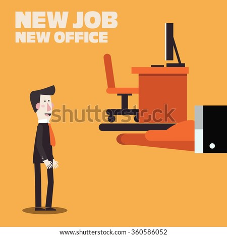 Welcome to the new job vector business concept. Boss offering a new office to employee. Successful smiling young man in the office for new job. Start and time for a new job illustration - stock vector