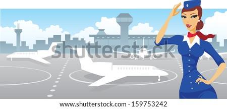 Welcoming air hostess - stock vector