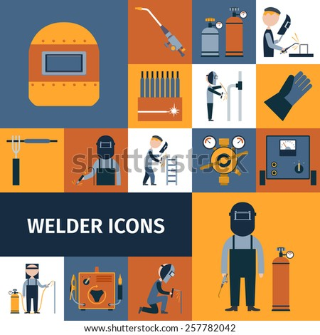 Welder and blacksmith laborer decorative icons set isolated vector illustration - stock vector