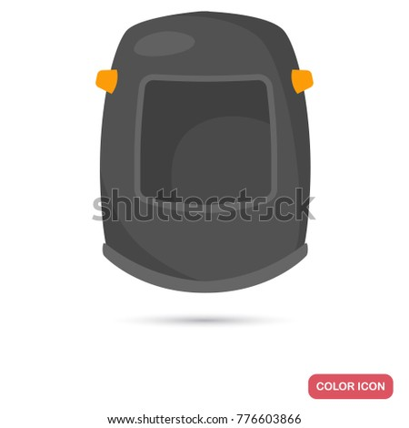 Welder helmet color flat icon for web and mobile design