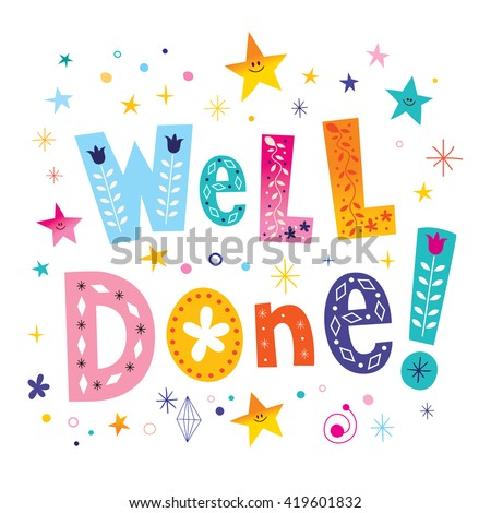 well done decorative lettering text greeting card - stock vector