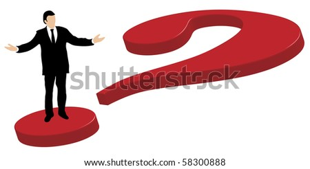 Well dressed business man standing on a big red 3d-questionmark explaining and gesturing with hands and arms stretched out to the sides.
