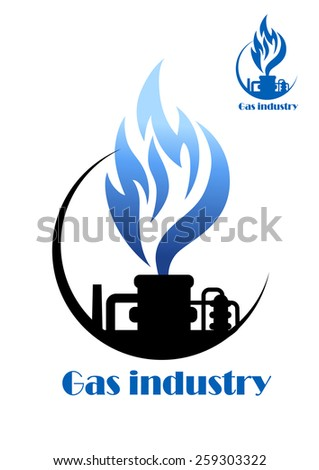 Well gas production and gas processing factory emblem or icon - stock vector