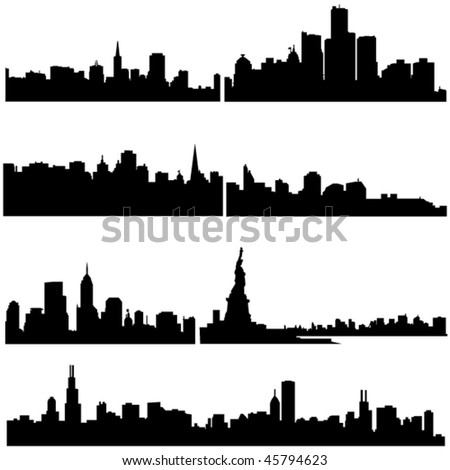 Well-known American cities in modern architecture. - stock vector