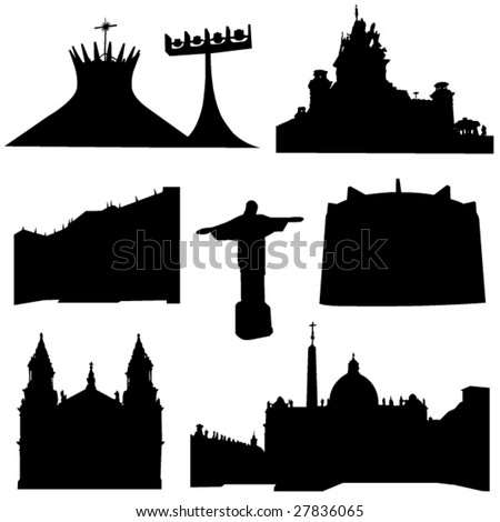 Well-known Brazil architecture - stock vector