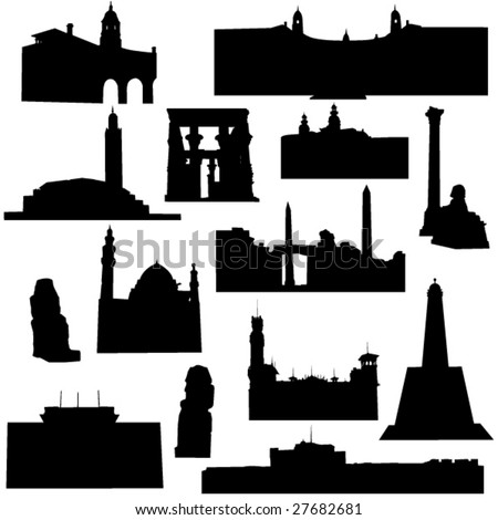 Well-known building in Africa - stock vector