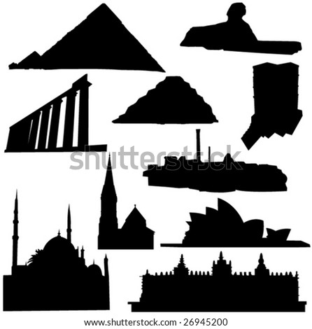 Well-known building in Africa and Australia - stock vector