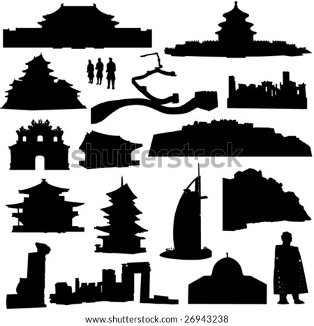 Well-known building in Asia - stock vector