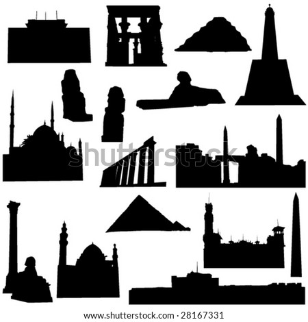 Well-known Egypt architecture - stock vector