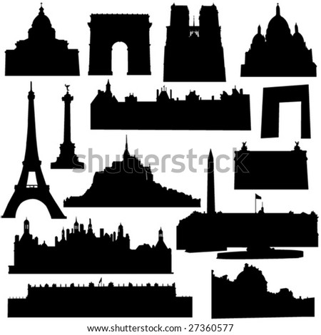 Well-known French architecture - stock vector