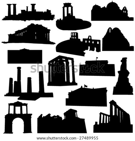 Well-known Greece architecture - stock vector