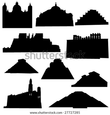 Well-known Mexico architecture - stock vector