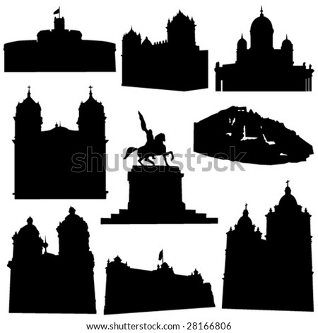 Well-known Peru architecture - stock vector