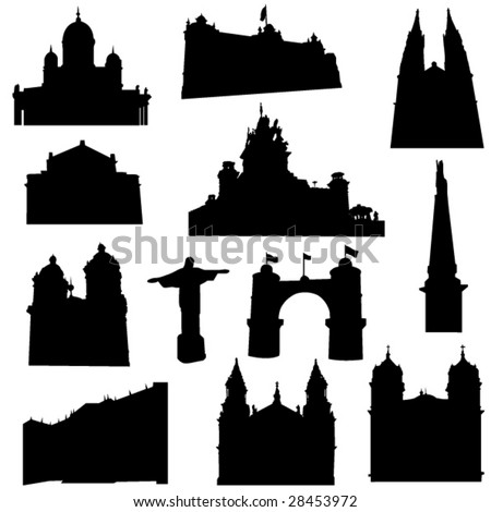 Well-known South America architecture - stock vector