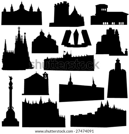 Well-known Spain architecture - stock vector