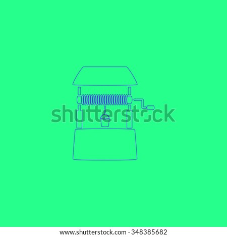 well Simple outline vector icon on green background  - stock vector