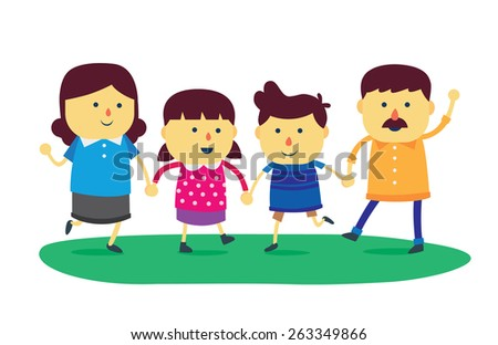 Wellbeing family, Family is composed of father, mother, son and daughter.  - stock vector