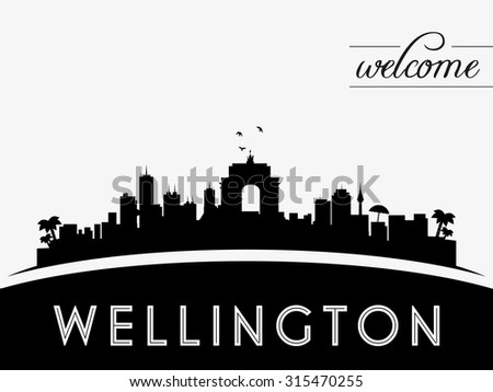 Wellington new zealand skyline silhouette black and white design vector illustration