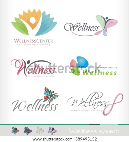 Wellness center logo design concept. Spa and massage symbol template. Healthy life style coaching icon template. Colorful abstract shape with butterfly and human figure.. - stock vector