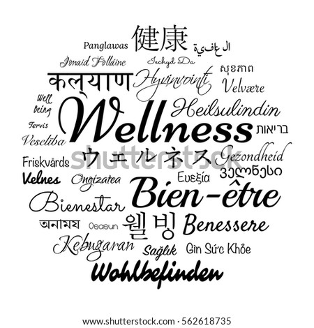 Wellness Concept Word Translated Different Languages Stock Vector - How many types of languages are there in the world