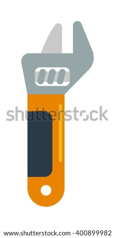 Wench tool vector. Wench tool illustration. Wench tool isolated on white. Wench tool icon. Wench tool flat style. Wench tool silhouette. Wench tools construction - stock vector