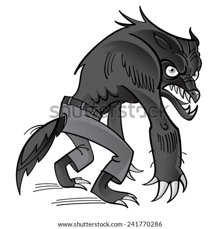 Werewolf - scary horrible ghoul in pants - stock vector