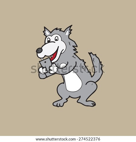 Werewolf text on mobile phone - stock vector