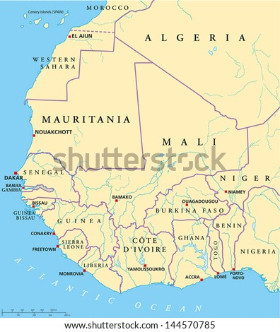 West africa map hand drawn map stock vector 144570785 shutterstock ccuart Images