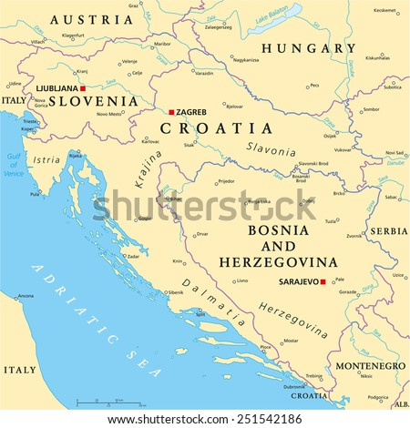West Balkan Political Map formed by Slovenia, Croatia and Bosnia And Herzegovina. With national borders, important cities, rivers and lakes. English labeling and scaling. - stock vector