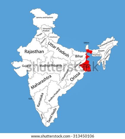 Contour map india icons technology business vectores en stock west bengal state india vector map silhouette illustration isolated on india map editable gumiabroncs Choice Image