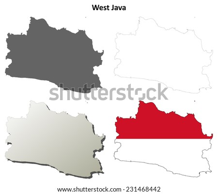 West Java Blank Outline Map Set Stock Vector Shutterstock - Blank map of the west
