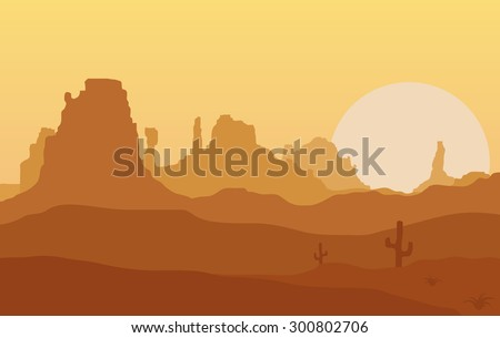 West. Table Mountain at sunset. - stock vector