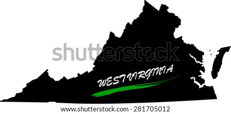 West Virginia map vector in black and white background, West Virginia map outlines in a new design - stock vector