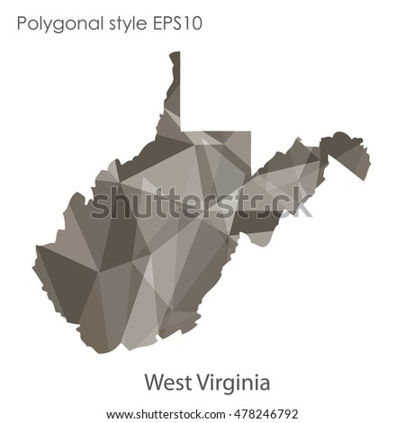 West Virginia state map in geometric polygonal,mosaic style.Abstract gems triangle,modern design background. Vector illustration EPS10