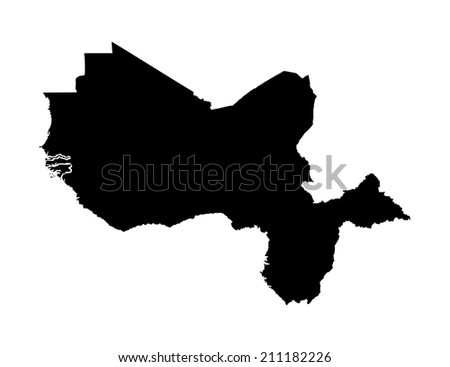 Western Africa vector map high detailed silhouette illustration isolated on white background - stock vector